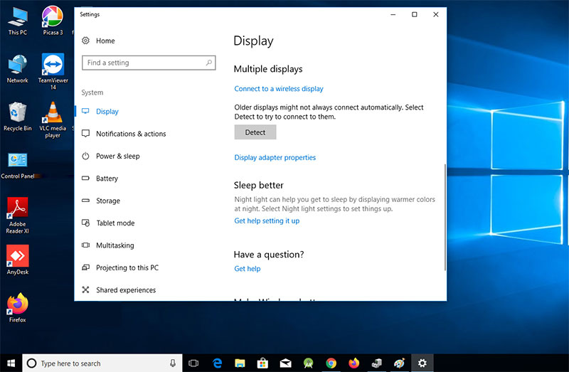 check display setting after windows not detecting the second monitor error
