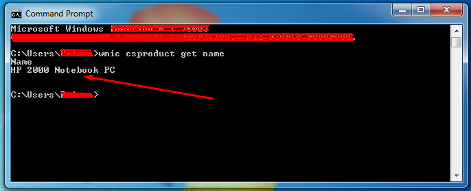 find laptop model name using command prompt