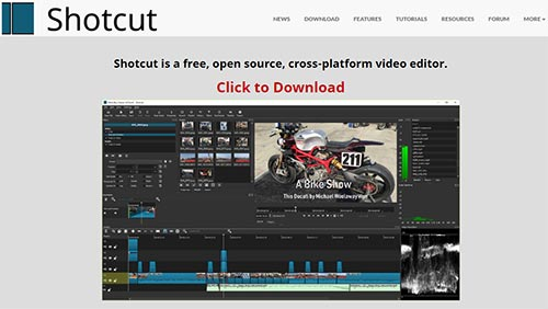 Shotcut software, open source or free video editing software for Vertical Monitor
