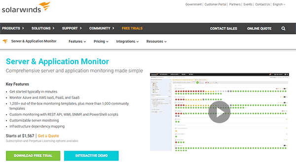 SolarWinds Server and Application Monitor Tool