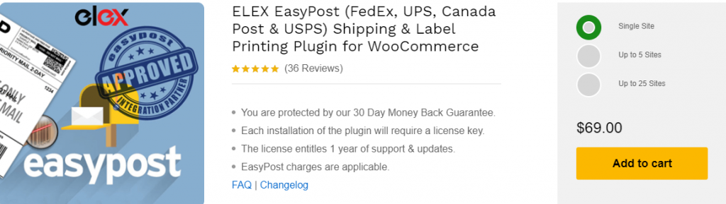Elex EasyPost Shipping & Label Printing