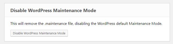 ERS Disable WordPress Maintenance Mode tool