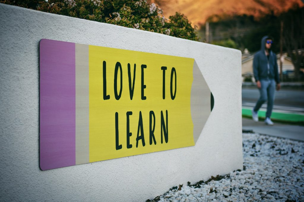 Love to learn sign