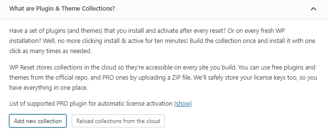 WP Reset Collections feature