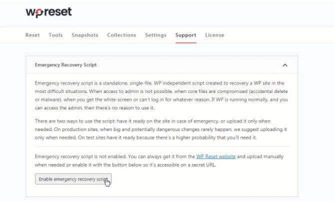 WP Reset ERS tool