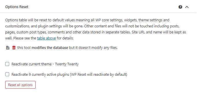 WP Reset Options Reset tool