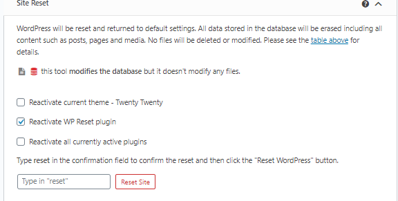 WP Reset Site Reset tool
