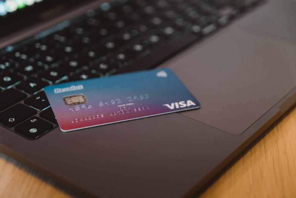 Credit card on laptop