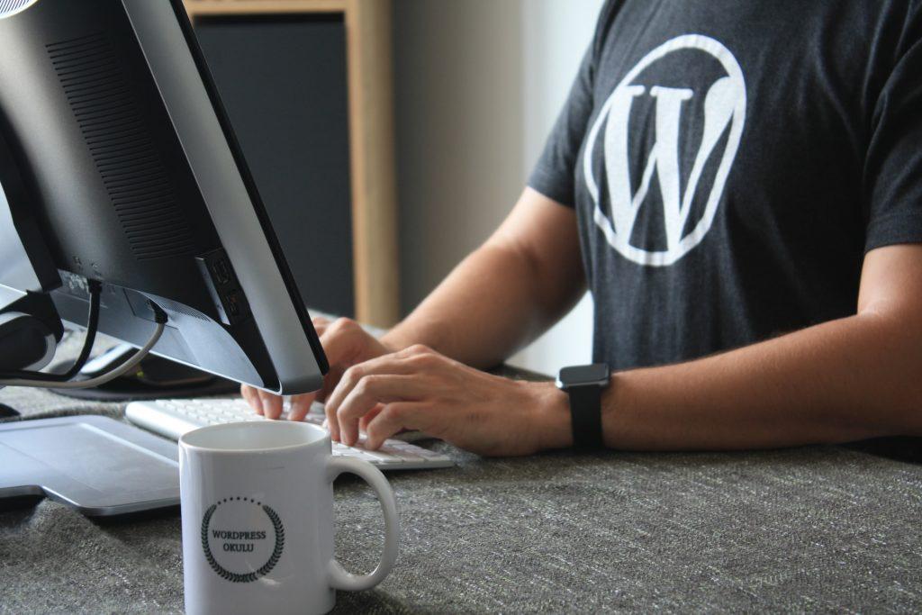 Man in WordPress shirt