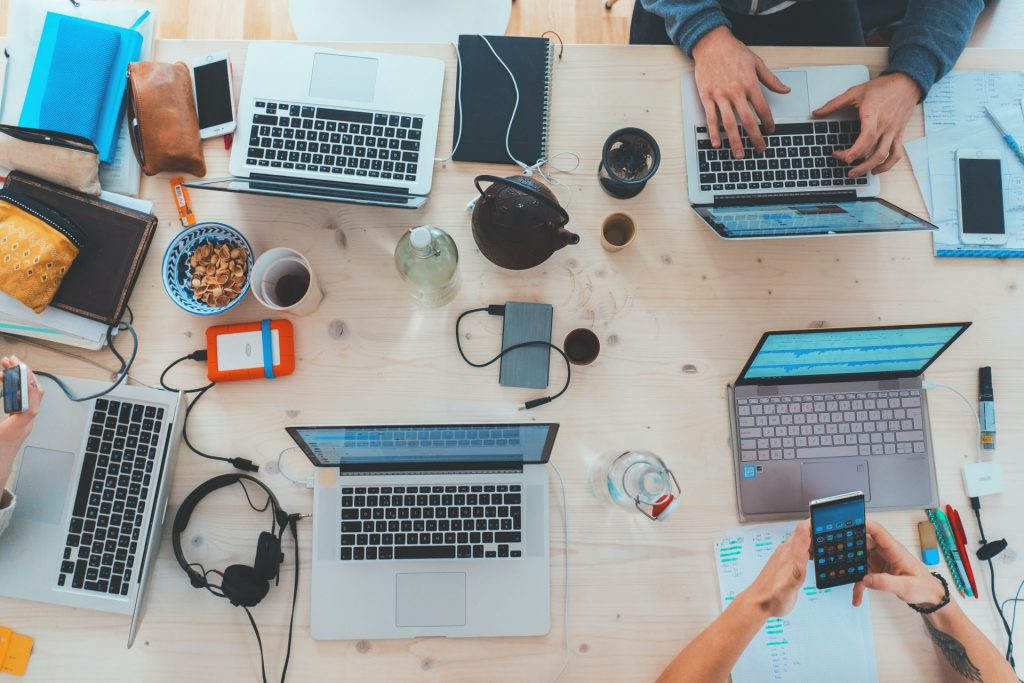Several laptops on desk
